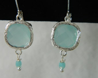 Chalcedony, Turquoise  & Sterling Square Earrings