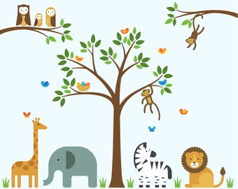 Nursery Jungle Decals, Nursery Jungle, Nursery Removable Decals - Large