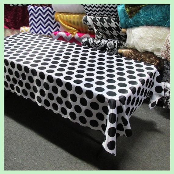 Tablecloth polka dot 3 charmeuse 58 x 10858 x for Black polka dot tablecloth