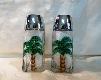 Palm Tree Hand Painted Salt & Pepper Shaker Set