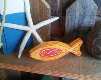 Painted Fish Shelf Sitter/ wood/ one of a kind