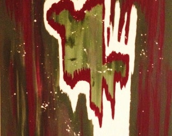 Original Abstract Art//Olive Green and Maroon Abstract Canvas Painting