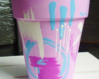 Pink and Lavender Hand-Painted Pot//Hand-Painted Terracotta Pot