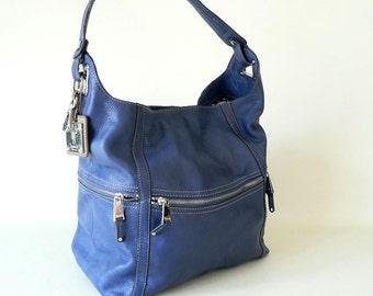 Large Blue Hobo Shoulder Bag