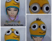 Minion hat,crochet minion hat,beanie babies,halloween costume,two eyes minion hat,one eyed minion hat.