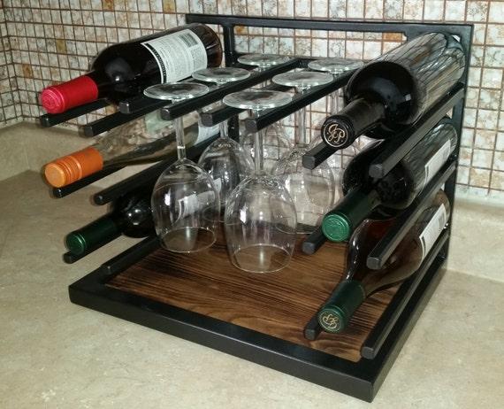 Custom Made Metal & Wood Wine Rack
