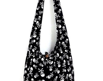 Skull Messenger Hippie Bag Gothic Bag College Bag Shoulder Bag Crossbody Bag Sling Bag Hobo Bag Boho Bag Bohemian Handbags Tattoo Bag.