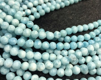 Genuine Larimar Round 5mm size,  AAAA top quality Larimar Beads- Length 40cm-