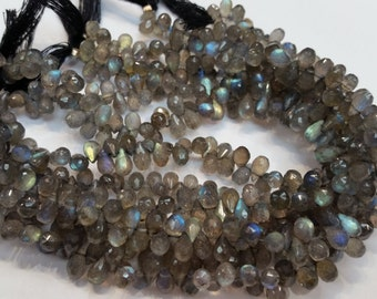 Labradorite Faceted Drop Briolettes , Approx 5x8MM ,Blue Shinning Labradorite , length 8 Inch