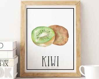 Kiwi fruit print, instant download, fruit wall art, kitchen decor, home decor, kiwi wall art, kitchen poster, watercolor kiwi, watercolour