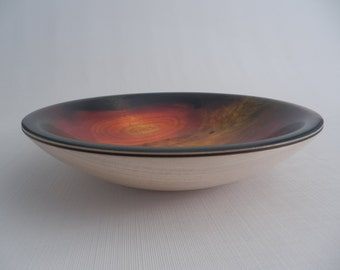 Decorative Wooden Bowl Maple Sunburst Pattern Glossy  Hand Turned