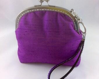 Purple Indian Silk Dupion Wristlet Purse, Evening Bag, Bridesmaid Purse, Prom Purse