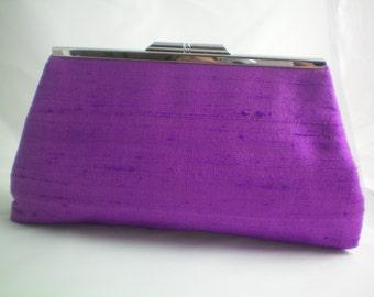 Purple Silk Clutch Purse, Bridesmaids Clutch, Occasion Clutch Purse, Prom Purse