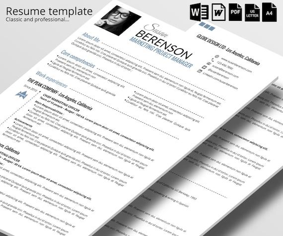 cv classique et professionnel 2 pages word par theresumeagency