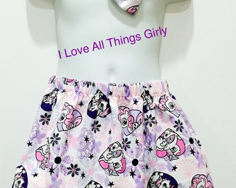 My Little Pony Girl Toddler Skirt with matching bow, READY To Ship Size 4T, My Little Pony, Girly Skirt,