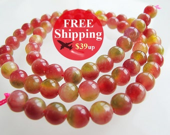 Watermelon jade beads, candy red and green color, gemstone 6mm round shape, 16 inch full strand,  FREE shipping