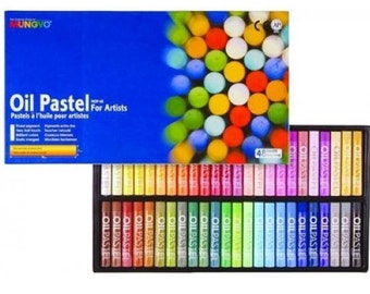 Mungyo oil pastels set of 48 Colors for artists whit Round type