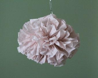 Pale Pink Tissue Paper Pom Poms/Bridal Shower Decorations/Hanging Tissue Poms/Bermuda Sand Poms/Nursery Room Decor/Poms