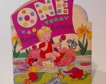 Vintage One Today Baby  Birthday card (unused)