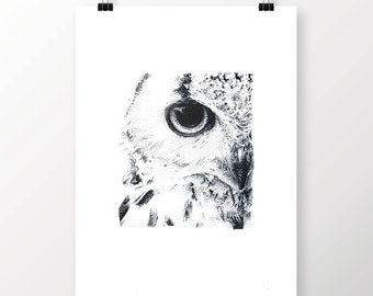 Print pointillism of an OWL