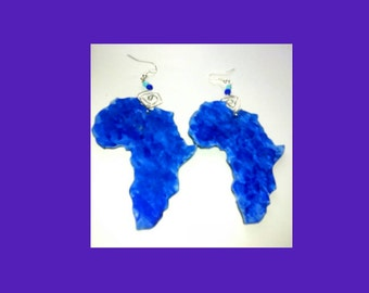 Hand painted shaded blue African earrings
