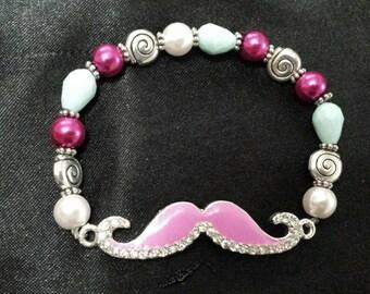 Glass beaded mustache bracelet