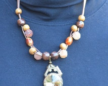 Handmade Beaded Necklace with earrings