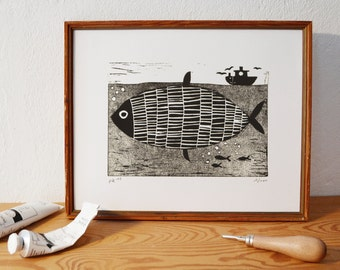 fish 2 · original linocut · Limited Edition · DIN A5