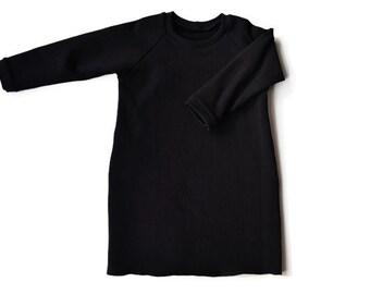 Long Black Raglan Baby Dress, Toddler Dress, Raglan sleeve, Black baby dress, Toddler dress black Baby girl dresses