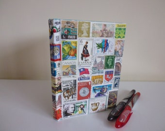 Notebook/Journal With Genuine World Postage Stamp Decoupage
