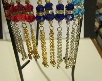 Handmade Czech Crystals, Chains and Beads Earrings