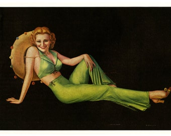 Vintage 1930s Thomas D. Murphy Pin-Up Print by Billy Devorss Featuring An Art Deco Flapper Beauty Titled Lady Of Leisure