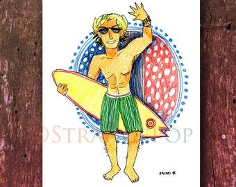Surfer dude print, California Surf Print, Surfing Art, Surfer Home Decor, Gift for Surfer, Beach House Art, Beach Wall Poster, Summer Print