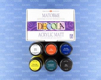 """6 MATT Acrylic Paint Set """"DECOLA"""" Russian Nevskaya Palitra"""