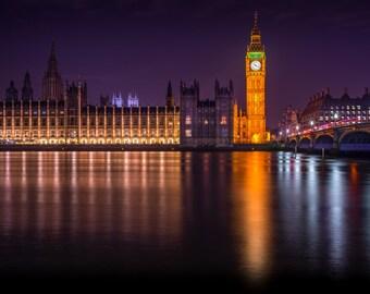 London Print - Palace of Westminster, Big Ben - Home Interior Wall Art, Travel Photograph, Art Print, Fine Art Photography, London Decor