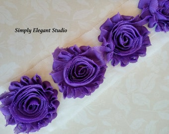 "Purple Chiffon Shabby Chic Flower, 2.5"" Chiffon Flowers, Headband Flower Flower by the Yard"
