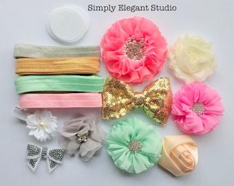headband Supply Kit, Baby Shower Headband Kit, Infant Headband Kit, DIY Headband, Kit #123