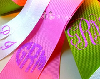 Wedding Monogram Bouquet Ribbon,  custom monogram bridal bouquet ribbon - Custom Designed