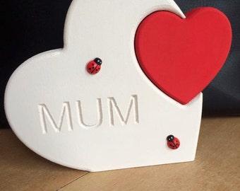 Freestanding mum engraved heart