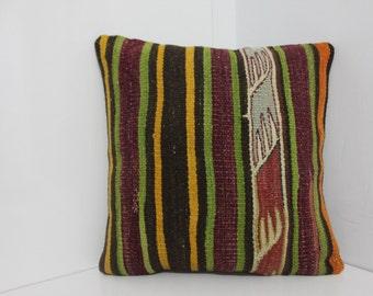 "Handmade Kilim Rug Pillow Cover 16"" x 16"" Vintage Turkish Kilim Pillow Cover Stripe Designs Cushion Cover Cases Home Decor Pillows"
