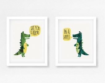 Alligator & Crocodile Nursery / Children's Room Artwork for Twins (Print Set of Two sized 8x10) instant download