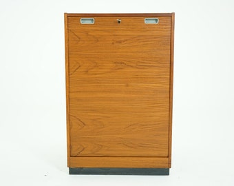 307-029 SALE! Danish Mid Century Modern Teak Tambour Door File Cabinet