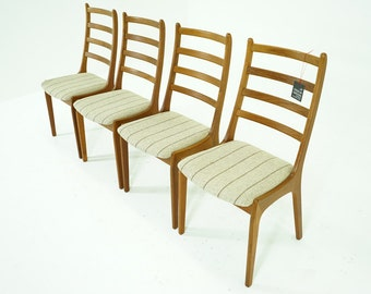 307-032.1 Danish Mid Century Modern 4 Teak Dining Chairs High Back