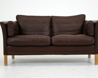 Danish Mid Century Modern Leather Couch Sofa Love Seat