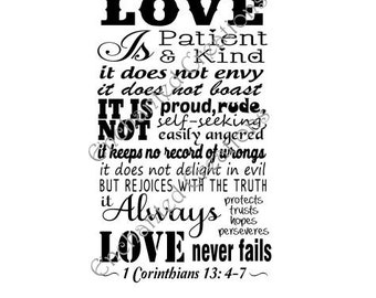 SVG file - Love is Patient - 1 Corinthians 13: 4-7