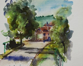 Original watercolor of a village in France, original painting of a French village in the Vosges with a road and houses