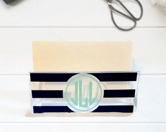 Business card holder etsy personalized business card holder monogram business card holder office decor desk accessory reheart Images