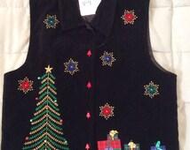 Black Ugly Christmas Vest - Large (V-4)