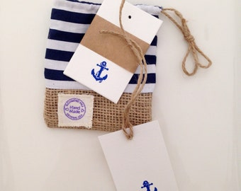 Coastal Desing Gift Tags. Handmade Gift Tags Kit. 12 pk Nautical Motif Gift Tags.