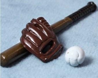 Fairy sized miniature softball/baseball glove, bat and ball - the fairies like softball too!